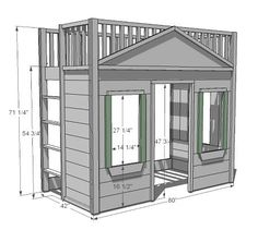 Little cottage loft bed. Ana White free building plans. This is even better than the loft bed I had as a kid. I would have loved this version