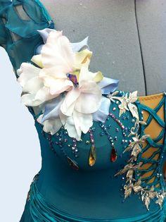 Silk flower and Swarovski applique on figure skating dress Figure Skating Competition Dresses, Figure Skating Costumes, Ice Dance Dresses, Figure Skating Dresses, Going For Gold, Skate Wear, Ice Princess, Beautiful Figure, Ballroom Dress