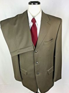 JONES NEW YORK Suit Mens 42 Brown WOOL 3 Button Blazer Jacket Pants 42R USA #JonesNewYork #ThreeButton