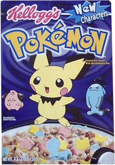All about Pokemon Cereal from Kellogg's - pictures and information including commercials and cereal boxes if available. You can vote for Pokemon or leave a comment. Kids Cereal, Cereal Boxes, Cereal Food, Oat Cereal, Old Pokemon Cards, Discontinued Food, Cornflakes, Childhood Memories 90s, Crunch Cereal