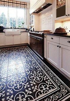 Küchen Design, Tile Design, House Design, Home Decor Kitchen, Rustic Kitchen, Painting Tile Floors, Patio Tiles, Wooden Pallet Projects, Small House Plans
