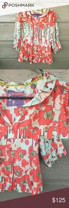 Johnny Was Floral Patterned 100% Silk Top Flawless! Pattern is vibrant with pleated sleeves and back hemline. Cute petite collar Excellent condition  Feel free to ask me any additional questions! Reasonable offers? are considered. Happy Poshing!! No trades, or modeling Johnny Was Tops Blouses