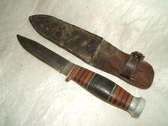 vintage cattaraugus hunting fishing fixed blade knife w/ leather sheath vtg old  | eBay
