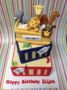 Dear zoo cake Zoo Birthday Cake, Boys First Birthday Cake, 2nd Birthday Parties, Birthday Ideas, Dear Zoo Cake, Dear Zoo Party, Zoo Party Themes, Birthday Chalkboard, First Birthdays