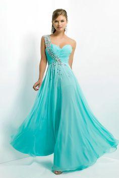 long chiffon natural waist zipper a-line one shoulder prom dress - Gopromdress.co.uk