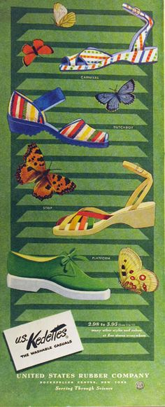 An cute array of Kedettes summer shoes, 1950s. #vintage #fashion #shoes