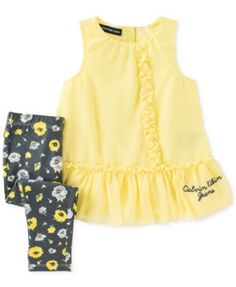 Calvin Klein Baby Girls' 2-Piece Yellow Tunic & Floral-Print Leggings Set