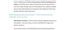 Veel tekstuele content op de homepage: Headers wisselen paragraaftekst af. Tevens gebruik van vette tekst om zo aandacht te trekken.