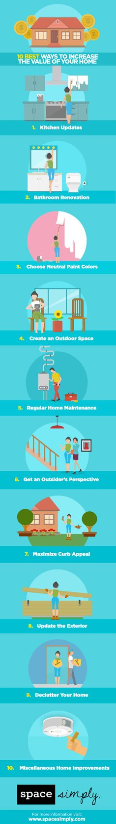*10 Best Ways to Increase the Value of Your Home (infographic)* Looking to make home improvements that will maximize your home's value? Here are 10 of the best ways to do just that!
