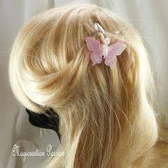 Pince clip cheveux papillon double ailes soie blanche, transparent rose, corps perles -collection Maéva, coiffure romantique, made in France