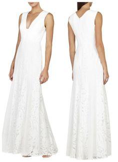 NEW BCBG White ELISIA Sleeveless Lace-Blocked Gown 12 $498 LSS66C54  #BCBGMaxAzria #Formal