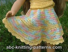 free pattern; American Girl Doll Flared Buttercup Skirt by Elaine Phillips