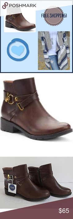 NWT Croft & Barrow Aimee Ankle Boots in Brown ~ Sophisticated with an edgy touch!! ~  Bold harness straps & trendy block heels combine for a winning look in these women's Croft & Barrow ankle boots. NWT!!  FEATURES: - Ortholite technology enables air flow for a cool foot, wicks away moisture, inhibits odor and fungus and provides long lasting cushioning!! - Wraparound harness strap w/gold buckeling -Treaded lug sole  - Synthetic upper / lining TPR outsole - Round toe  - Side zipper…