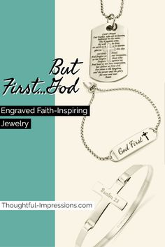Shop our Brand-New God First jewelry collection for beautiful engraved jewelry that you'll love to wear and show-off that in your life God comes first! Mens Engraved Bracelets, Engraved Jewelry, Engraved Necklace, Dog Tag Necklace, Mens Sterling Silver Necklace, Silver Earrings, Meaningful Jewelry, New Gods, Personalized Charms