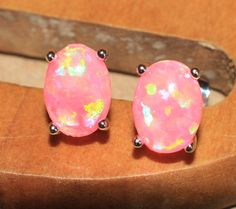 pink fire opal earrings gemstone silver jewelry chic petite cocktail stud E4 #Stud
