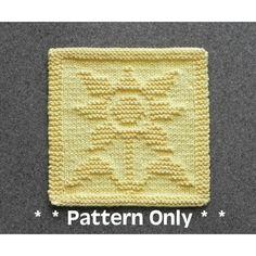 SUNFLOWER Knit Dishcloth Pattern by Aunt Susan's Closet Dishcloth Knitting Patterns, Knit Dishcloth, Knit Patterns, Clothing Patterns, Flower Patterns, Pattern Flower, Knitting Squares, Pretty Patterns, Susa