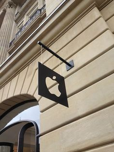 Suitably understated signage at Apple's Amsterdam store.: