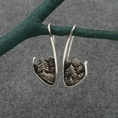 SCENIC EARRINGS Mountains River and Tall Pines in by BandScapes, $120.00