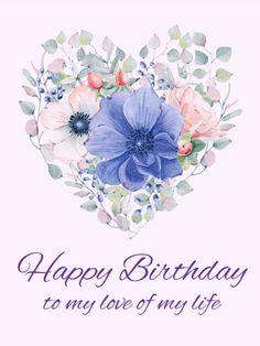 Elegant Flower Heart Happy Birthday Card Romantic Cards Greeting