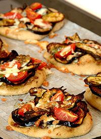 Grilled Eggplant, Courgette, Olive and Mozarella Mini Pizzas