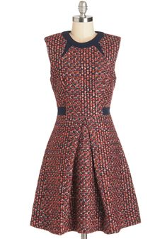 A New Gratitude Dress. Hosting dinner for good friends in this tweed A-line frock from Pink Martini makes you especially thankful. #multi #modcloth