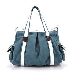 Fashion Plaza Mitte 2014 Neu Damen Vintage Canvas Damentasche Handtasche Schultertasche Tragetasche für Shopping Alltagstasche 40x19x28cm extra! C5022 (blau)