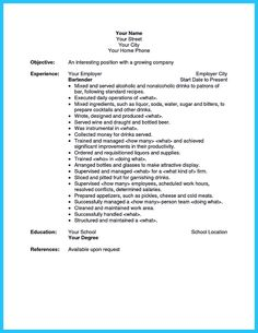 Bartender Resume Cover Letter Real World Sample Bartender Resume