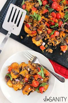 Sweet potato nachos loaded with taco meat, veggies and cheese. The ...