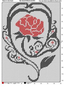 ROSE IN VINE HEART by SUSAN B. ** WALL HANGING