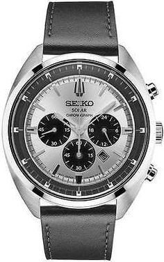 Seiko Solar Chronograph SSC569 - Black Leather Strap Sunburst Dial Watch Mens