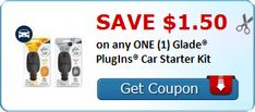$4.50 in Savings on Glade Products: Spray, Oil, Candles, Car PlugIns (Car Starter Kits for $3.38 at Walmart!)