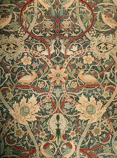 Carpet, by William Morris (1834-1896). Hand-knotted with woollen pile made for Bullerswood. London, England, 1889.