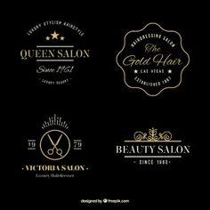 Hand drawn golden elegant hairdressing logos