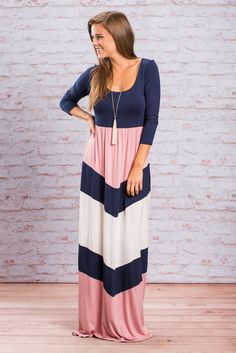 """""""True Affections Maxi Dress, Navy-Pink""""This maxi dress makes pairing so EASY thanks to the chic color trio! Plus, it is perfect for ANY season AND is insanely comfy! Can't beat that versatility!  #shopthemint #newarrivals"""