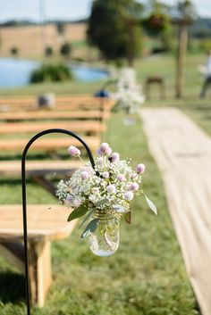 Hanging Mason Jars with Pink Thistles and Baby's Breath as Aisle Decor | Flowers By Meg | The Perfect Plan | Olivia Rae Photography