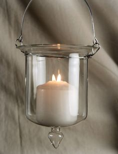 Glass Hanging Candle Holder 5in
