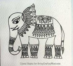 Easy Madhubani Elephant Bookmark Craft for kids Madhubani Art, Madhubani Painting, Worli Painting, Fabric Painting, Bookmark Craft, Indian Folk Art, Cherokee Indian Art, Indian Art Paintings, Indian Elephant