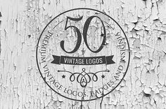 50 Vintage Logos and Badges Templates #vintagefonts #retrokit #logos #badges #deal #bundle #textures