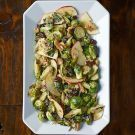 Roasted Brussels Sprout and Apple Salad with Black Walnuts.