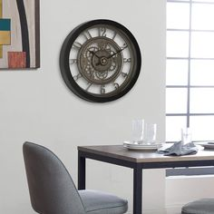 Home Pinnacle Gear 24 in Wall Clock with Glass Face Home Office Vintage Durable Shabby Chic Furniture, Living Room Furniture, Modern Furniture, 24 Inch Wall Clock, Face Home, Home Decor Trends, Home Decor Outlet, Living Spaces, House Design