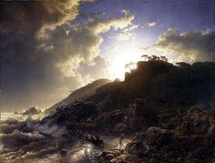 Andreas Achenbach (1815-1910)  Sunset after a Storm on the Coast of Sicily  Oil on canvas, 1853  32 3/4 x 42 1/8 inches (83.2 x 107.3 cm)  Metropolitan Museum of Art, Manhattan