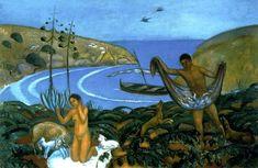 Mediterrània, que juntament amb La Pastoral de Joaquim Sunyer, és considerada una obra emblemàtica del Noucentisme català. A Mediterrània trobem les figures d'una pastora i un pescador joves en el marc idíl·lic d'una caleta a les rodalies de Sitges. Sunyer va introduir-hi, amb magistral naturalitat, els emblemes de l'estètica noucentista: el mar blau, la barca de vela llatina, les orenetes i la flor de pita.