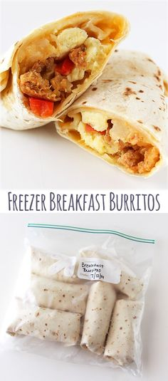 Freezer Breakfast Burritos - Make burritos beforehand & freeze. Then reheat in the microwave before you leave the house!