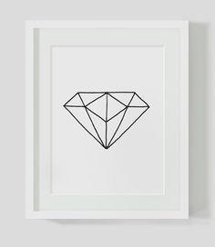 Geometric Diamond Minimalist Diamond Black and White Wall