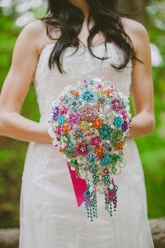 Bright & beautiful brooch bouquet  Noaki's 2014 Collection of Bouquets & Accessories