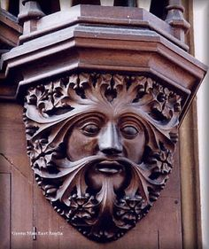 A Victorian Green Man on the organ of St Mary's Church, Redenhall, Norfolk, England (