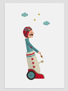 Illustration 'Traveling to the Stars '. Print to decorate your home. Circus Art, Circus Theme, Kids Prints, Wall Art Prints, Circus Illustration, Color Me Mine, Cool Walls, Star Print, Vintage Children