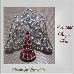 Angel Pin Vintage Jewelry Red and White by DLSpecialties on Etsy, $7.99
