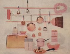 """from the publication: Kitchen Ideas for 1959: """"Pink, after years of popularity, continues to win friends."""" """"It can be used in a big way in kitchens""""!!!!"""