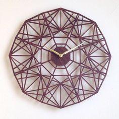 "19"" Sapphire Large Wall Clock. Laser Cut Modern Geometric Mid century Wood Wall Art Decor."